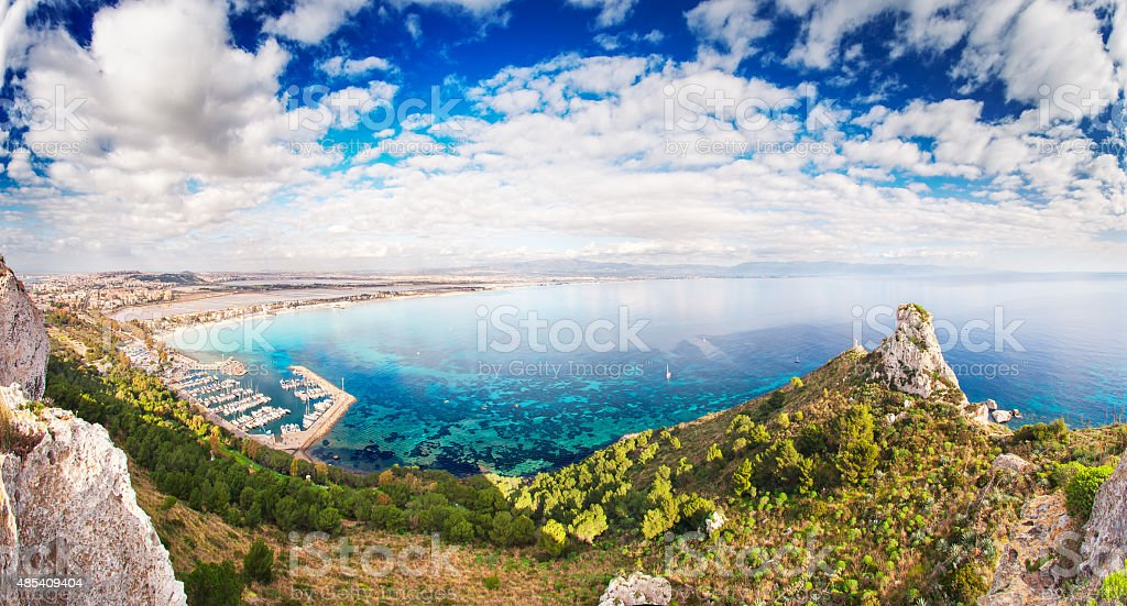 Panoramic view over the 'Sella del Diavolo' and Cagliari stock photo