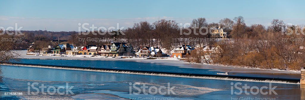 Panoramic view Philadelphia boathouse Schuylkill River covered in snow stock photo
