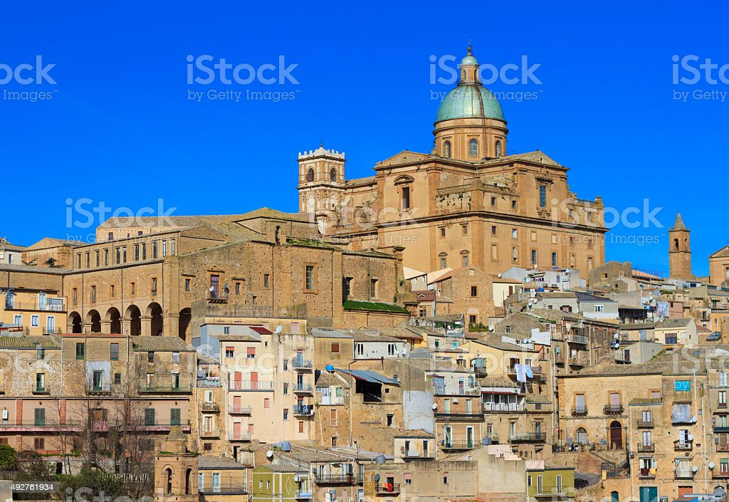 Panoramic View, Piazza Armerina (Sicily) Dominated by Green Cathedral Dome stock photo