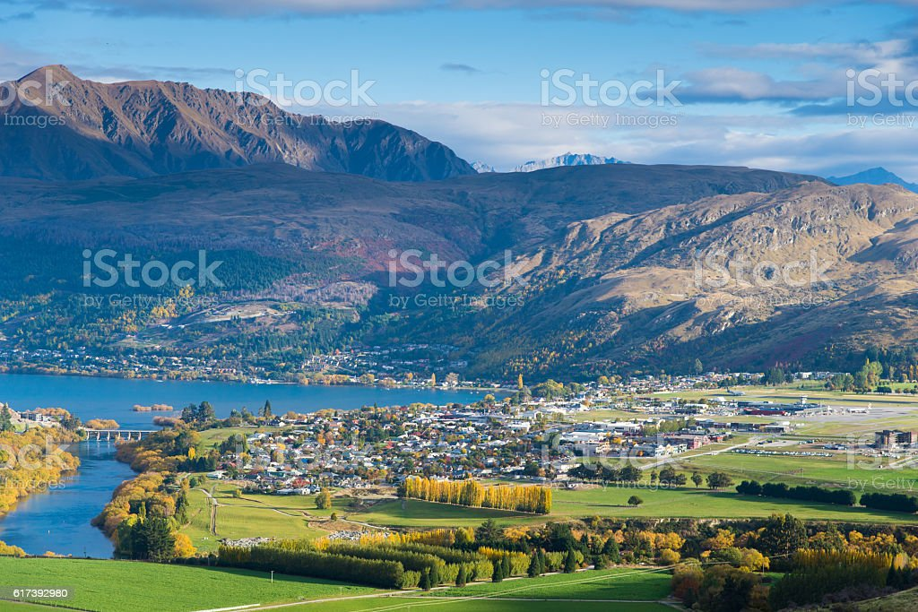 Panoramic view remarkable peak at queen town  in new zealand stock photo