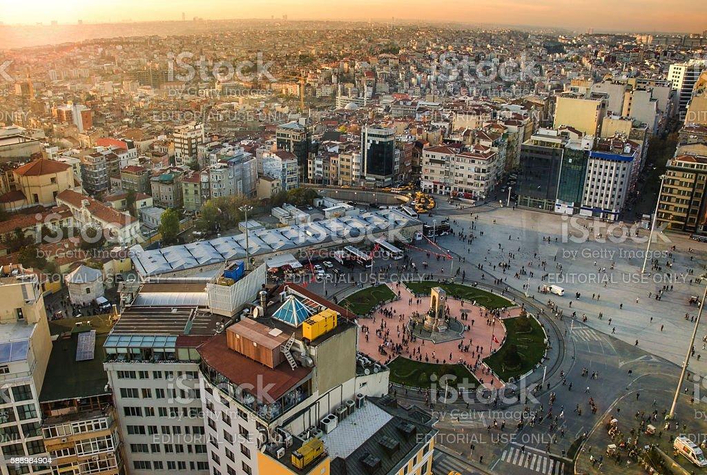 Panoramic view Republic Monument at Taksim Square on June 8, stock photo