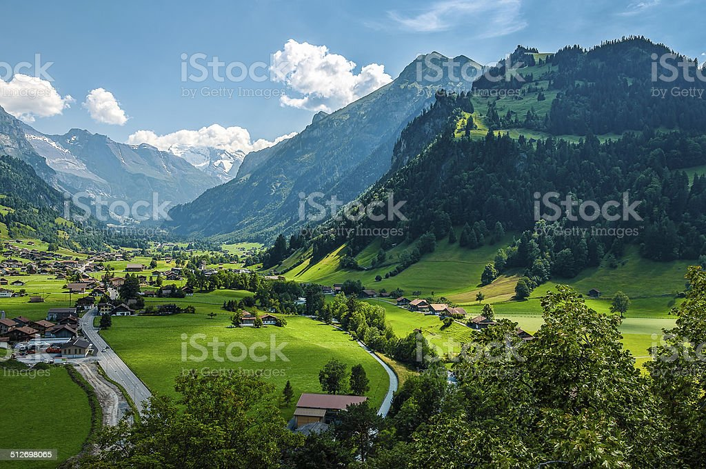 Panoramic view Swiss Zillertal from theTellenburg Castle ruin stock photo