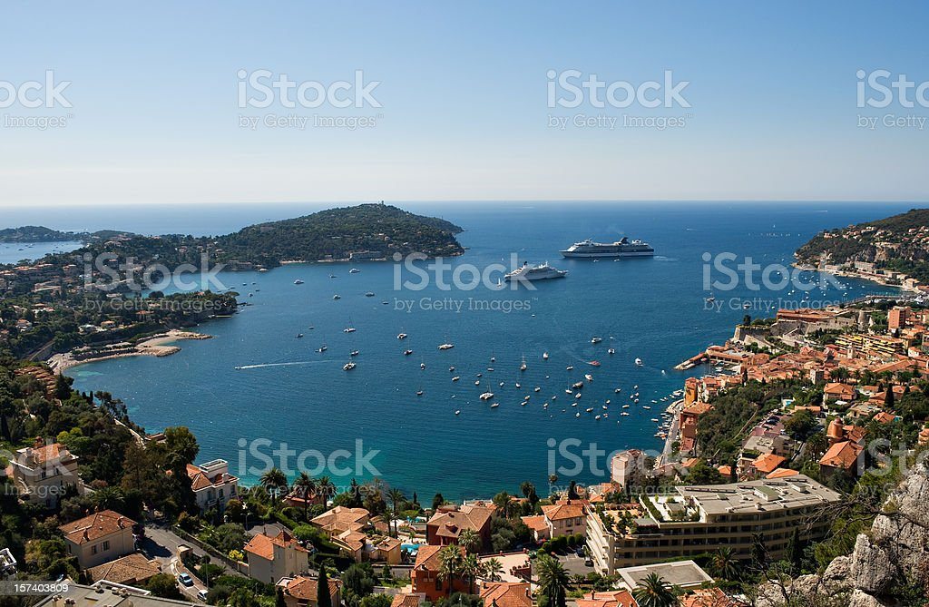 Panoramic view the Bay of Villefranche Cote d'Azur stock photo