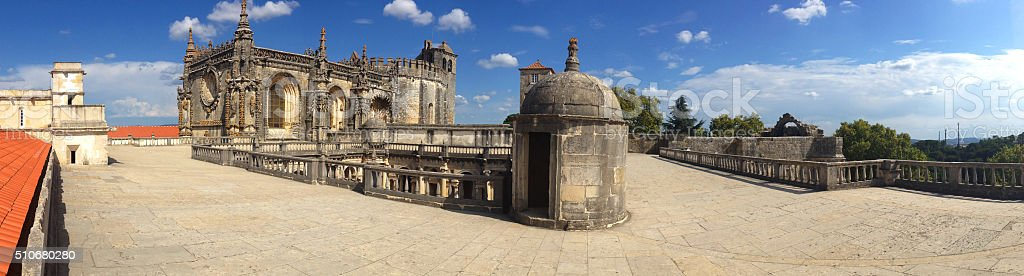 panoramic view the monastery Knights Templar in Tomar stock photo