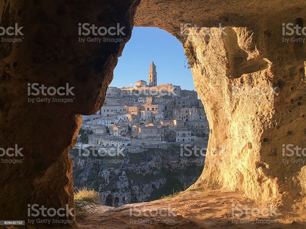 Panoramic view through cave of sassi di Matera stock photo