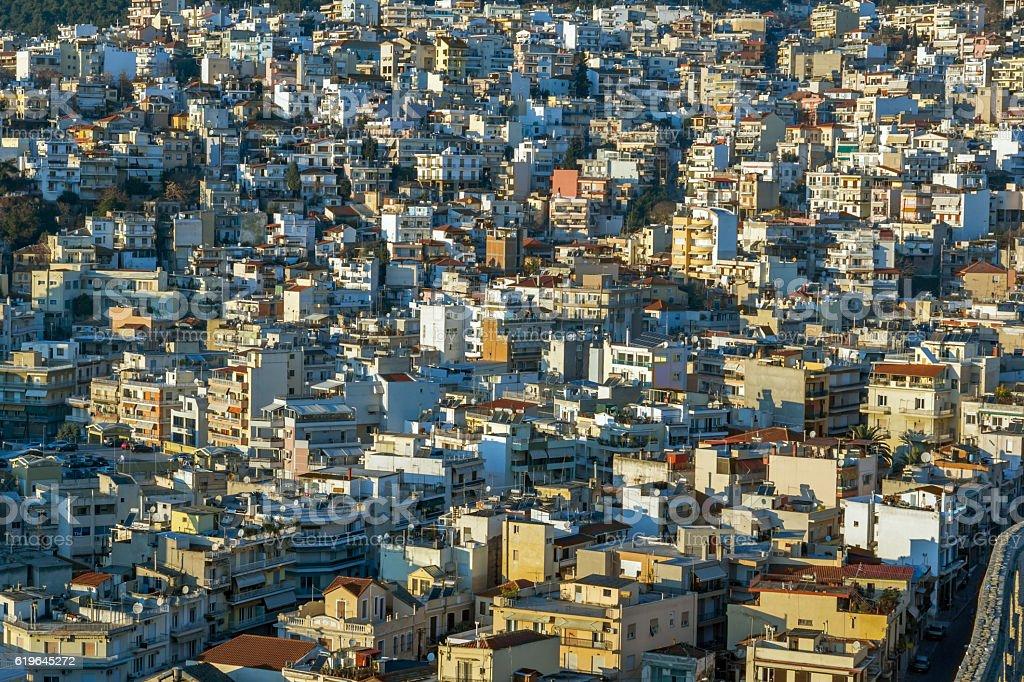 Panoramic view to city of Kavala, Greece stock photo