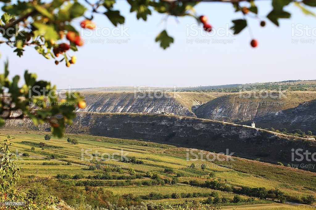 Panoramic view to Karst hills in Orheiul Vechi royalty-free stock photo