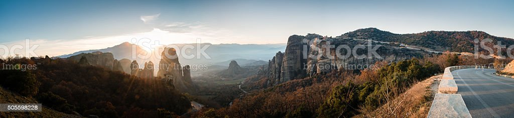 Panoramic view to Meteora valley stock photo