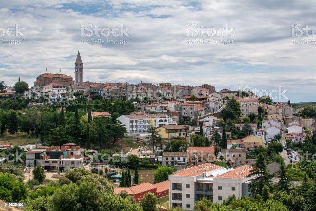 Panoramic view to old croatian town Vrsar stock photo