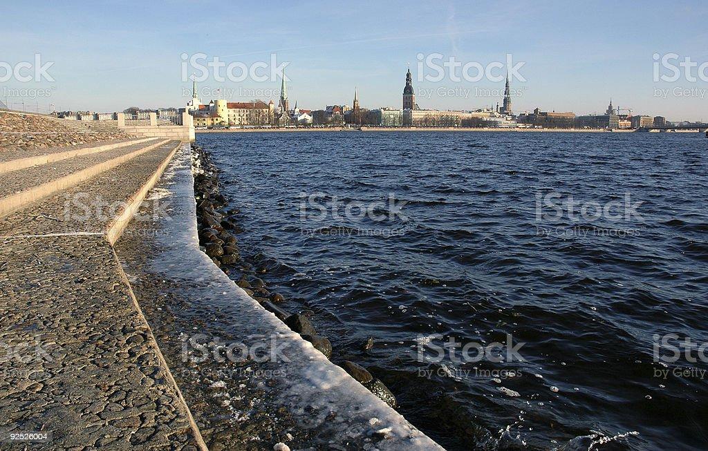 Vue panoramique sur la vieille ville de Riga, Lettonie photo libre de droits