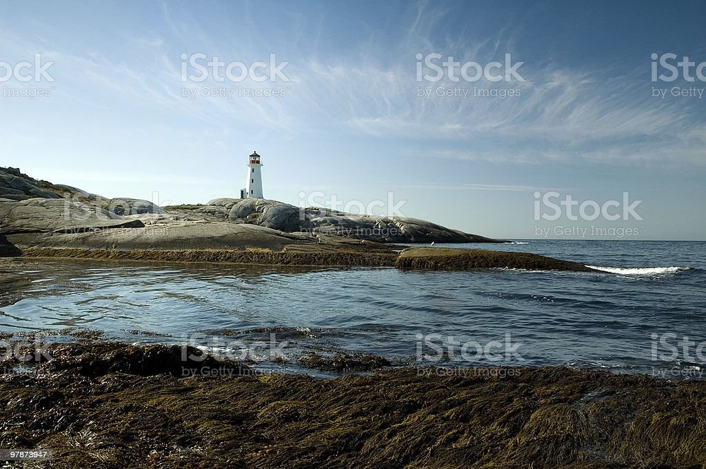 Panoramic view to Peggy`s Cove royalty-free stock photo
