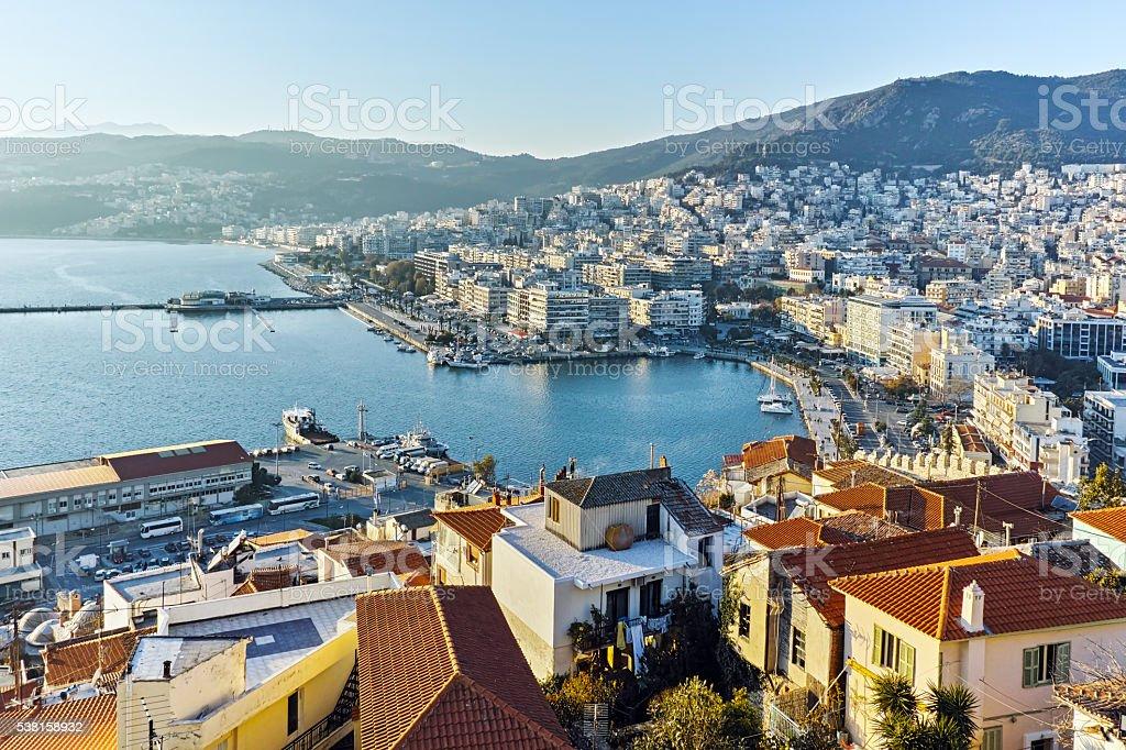 Panoramic view to port of Kavala, Greece stock photo