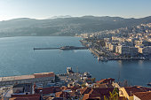 Panoramic view to port of Kavala, Greece