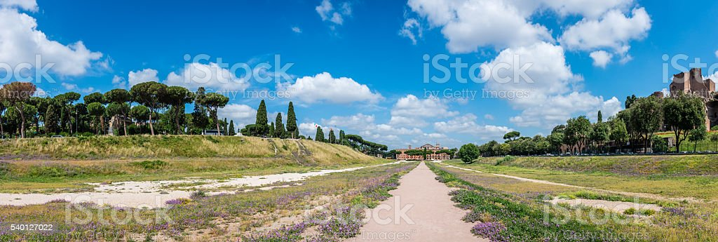 Panoramic view to the Circus Maximus, Rome stock photo