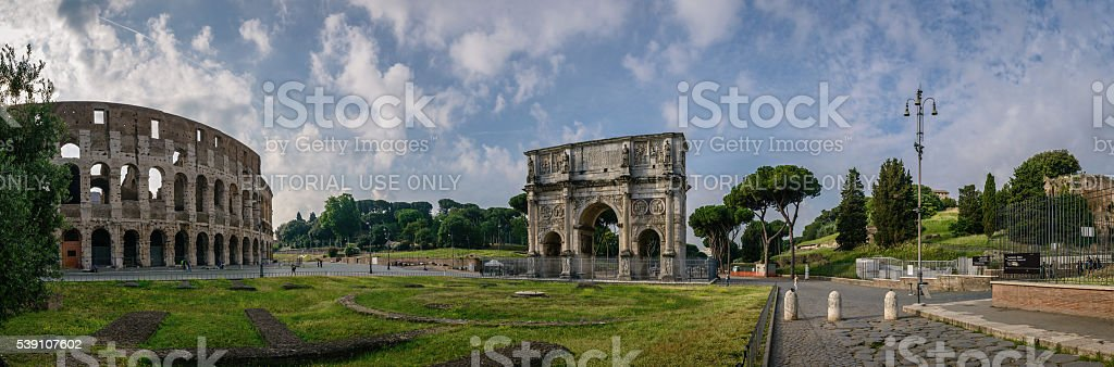 Panoramic view to the Colosseum area, north side stock photo