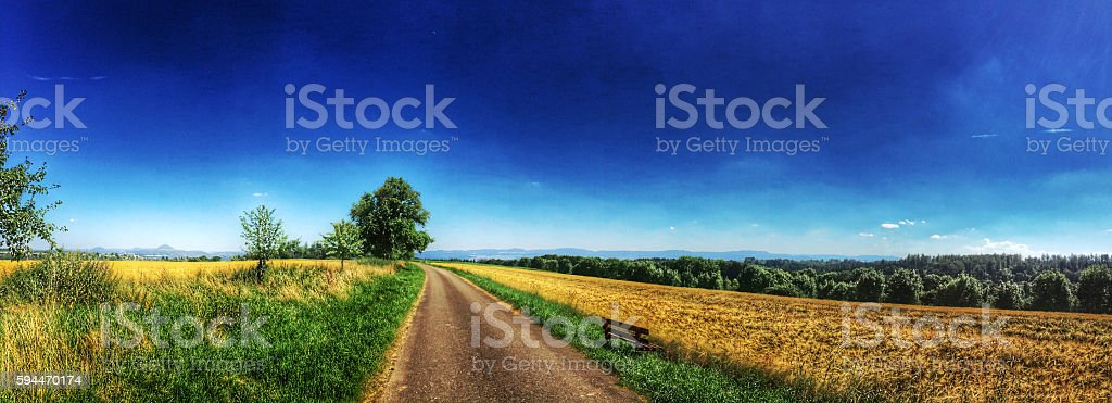 panoramic view to the Swabian highlands in Germany stock photo