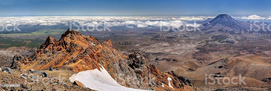 Panoramic view Tongariro National Park (New Zealand) stock photo