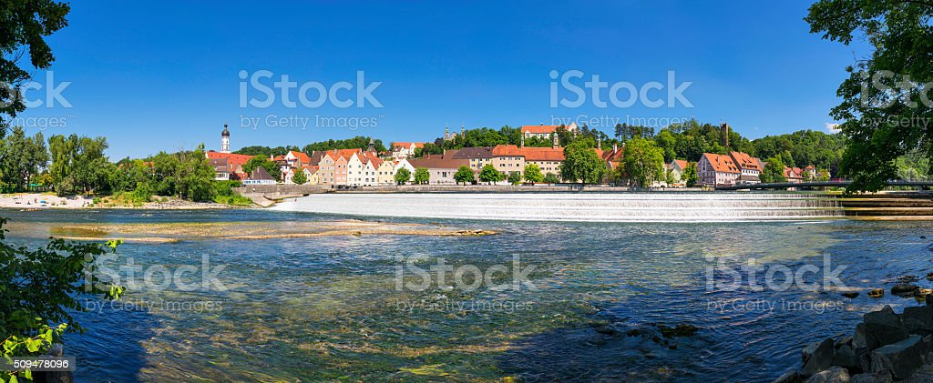 Panoramic view town Landsberg am Lech stock photo