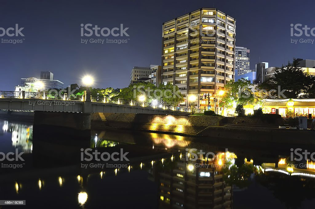 Panoramic view with Hiroshima City at night, Japan stock photo