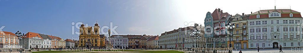Panoramic view with historical buildings in Timisoara stock photo