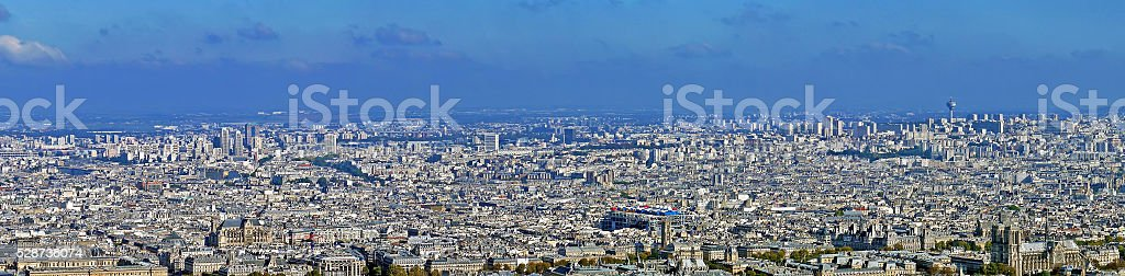 Panoramic view with Paris from Montparnasse tower stock photo