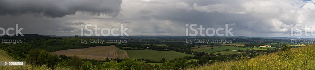 Panoramic view with storm clouds coming over the Chilterns, Engl stock photo