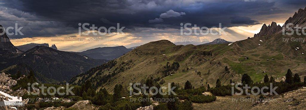 Panoramic view XXXL, Dolomites, Val Gardena royalty-free stock photo