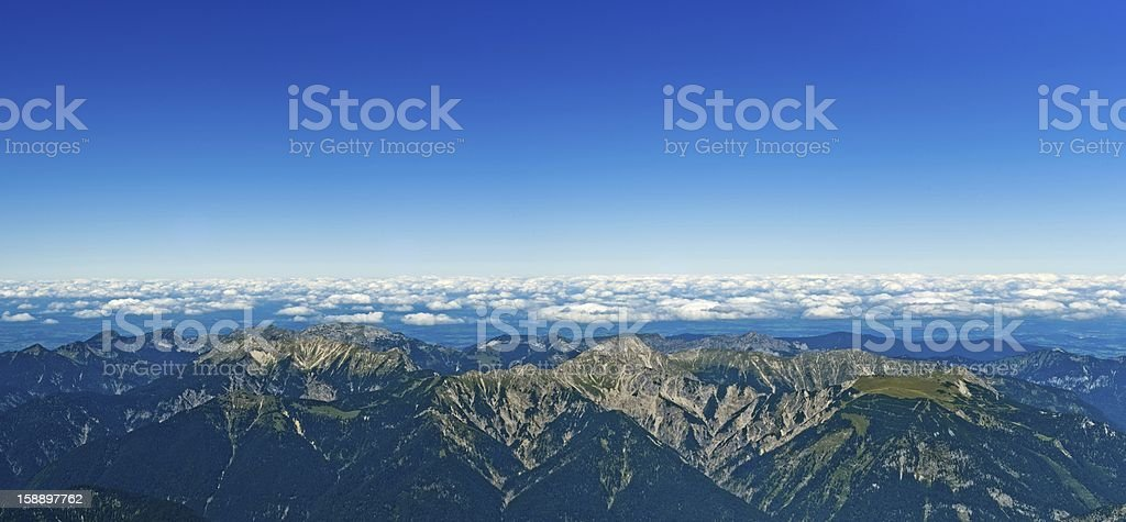 Panoramic View Zugspitze German Austrian Boarder on a sunny day royalty-free stock photo