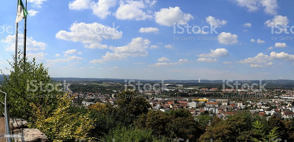 Panoramic views from Schlossberg in Homburg/Germany stock photo