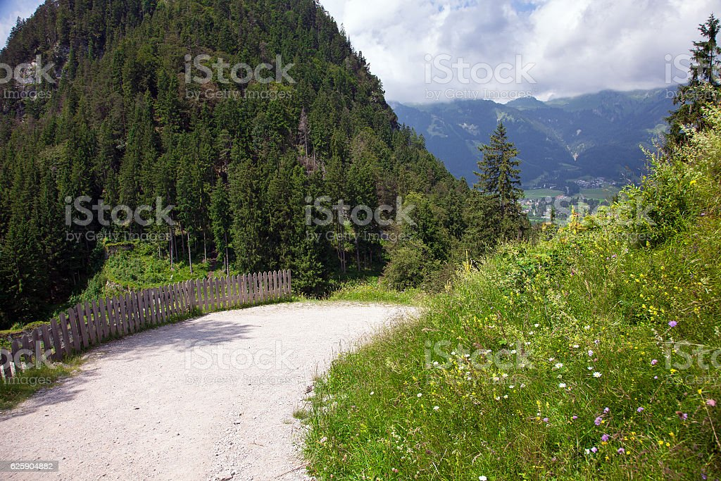Panoramic views from the Ehrenberg castle ruins, Austria stock photo