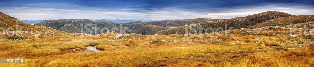 Panoramic views from the summit trail Floyen to Ulriken. stock photo