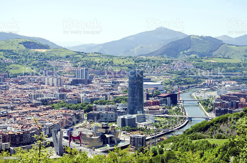 Panoramic views of Bilbao city, Bizkaia, Basque Country, Spain stock photo