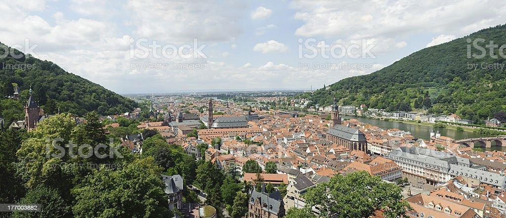 panoramic views of heidelberg cityscape in Germany stock photo