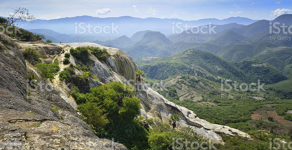 Panoramic views of mountains from hot springs Hierve El Agua stock photo
