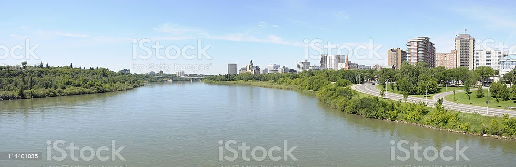 Panoramic views of Saskatoon city stock photo