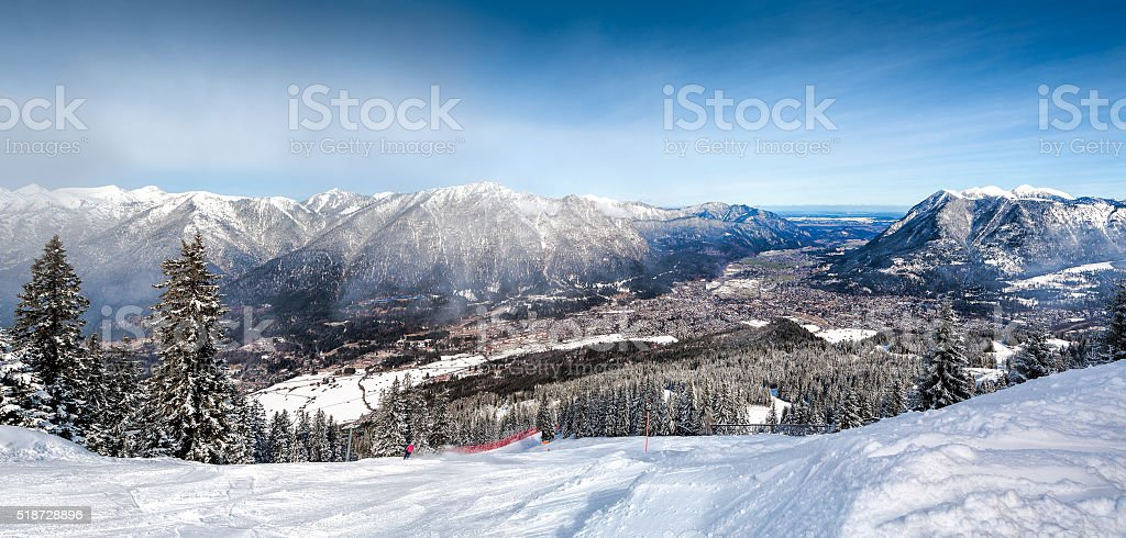 Panoramic views of the Alps and Garmisch-Partenkirchen stock photo
