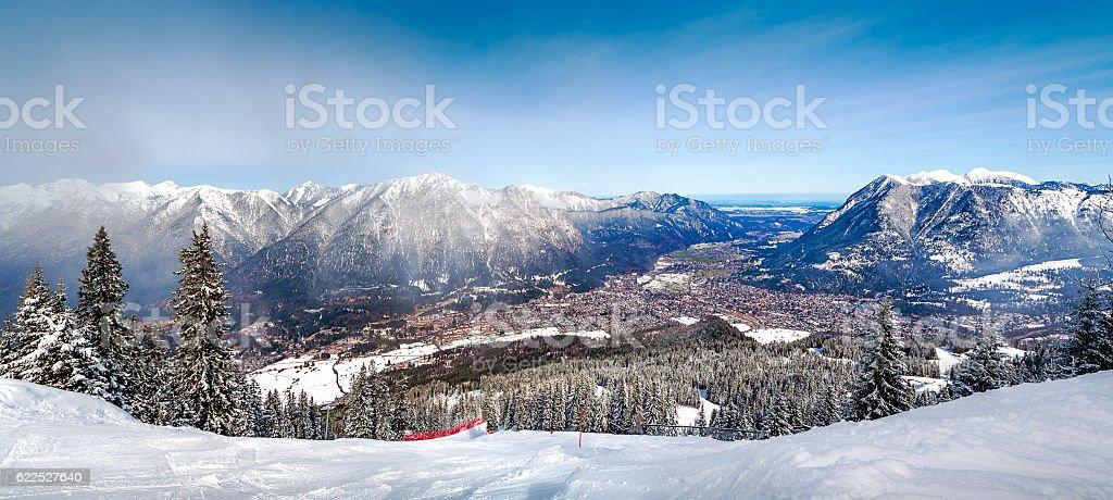 Panoramic views of the Alps and Garmisch-Partenkirchen stock photo