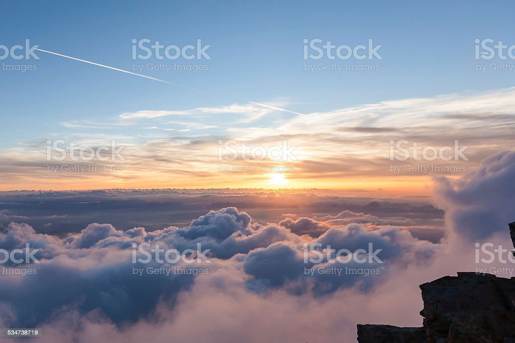 Panoramic views of the Alps in the sky stock photo