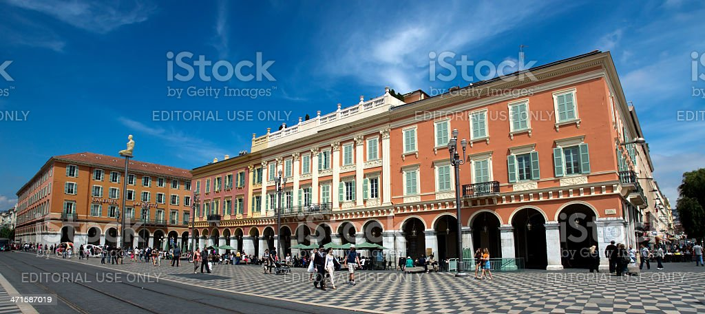 Panoramic views of the Place Massena royalty-free stock photo