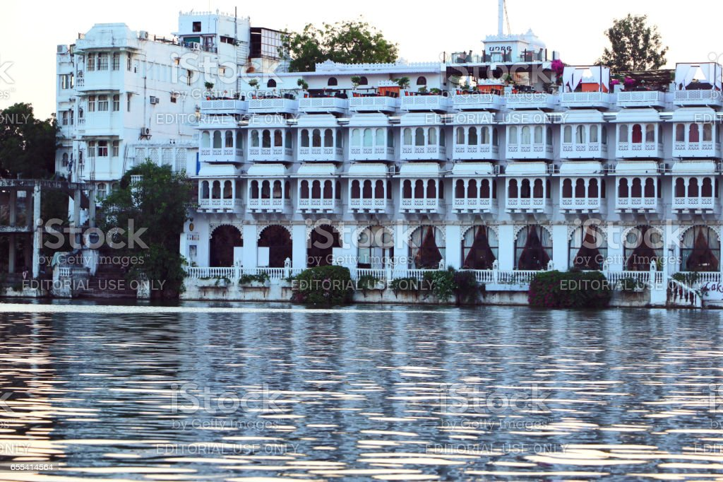 Panoramic views of Udaipur city and island stock photo