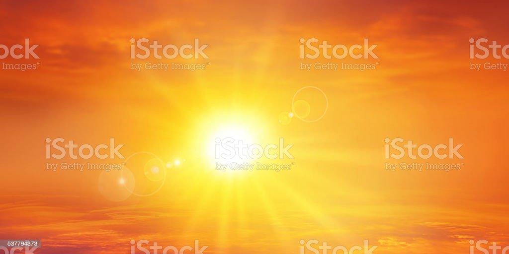 Panoramic warm sunset stock photo