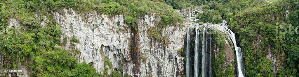 Panoramic Waterfall 'Veu De Noiva' in Itaimbezinho Canyon, Brazil stock photo