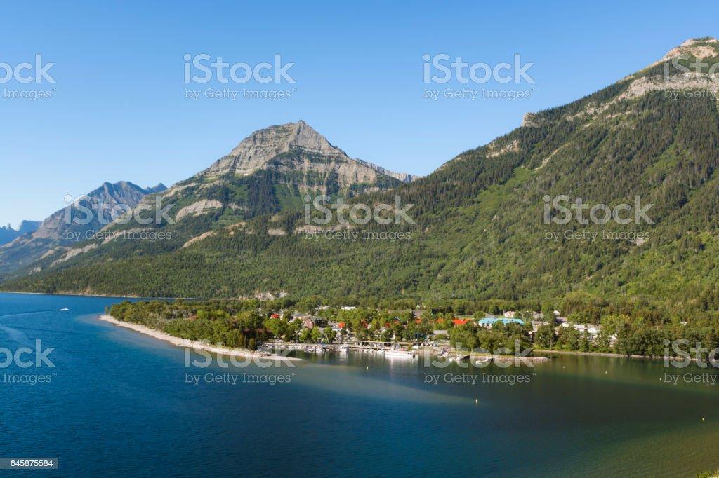 Panoramic Waterton and Lakes Summer stock photo