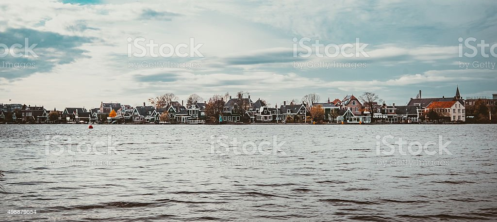 Panoramic Wide View from the Waterfront of a village stock photo