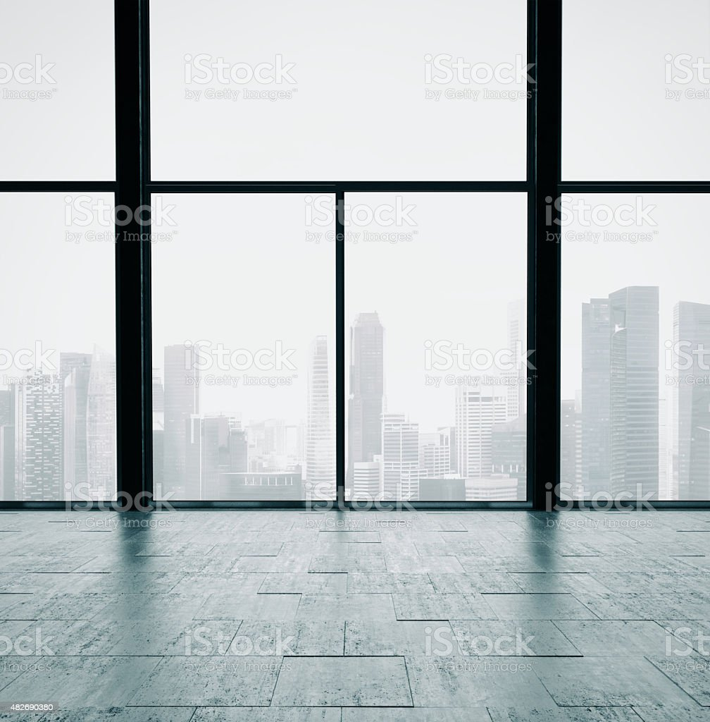 Panoramic windows and cocrete wall. 3d render stock photo