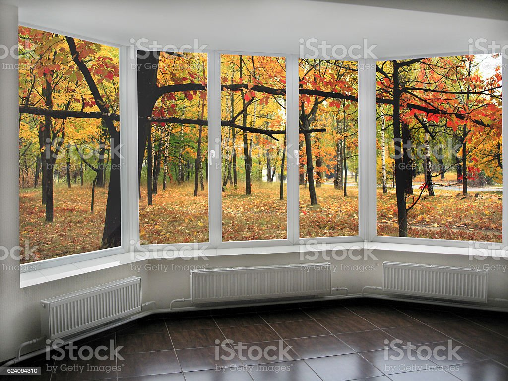 panoramic windows with view to oaken autumnale grove stock photo