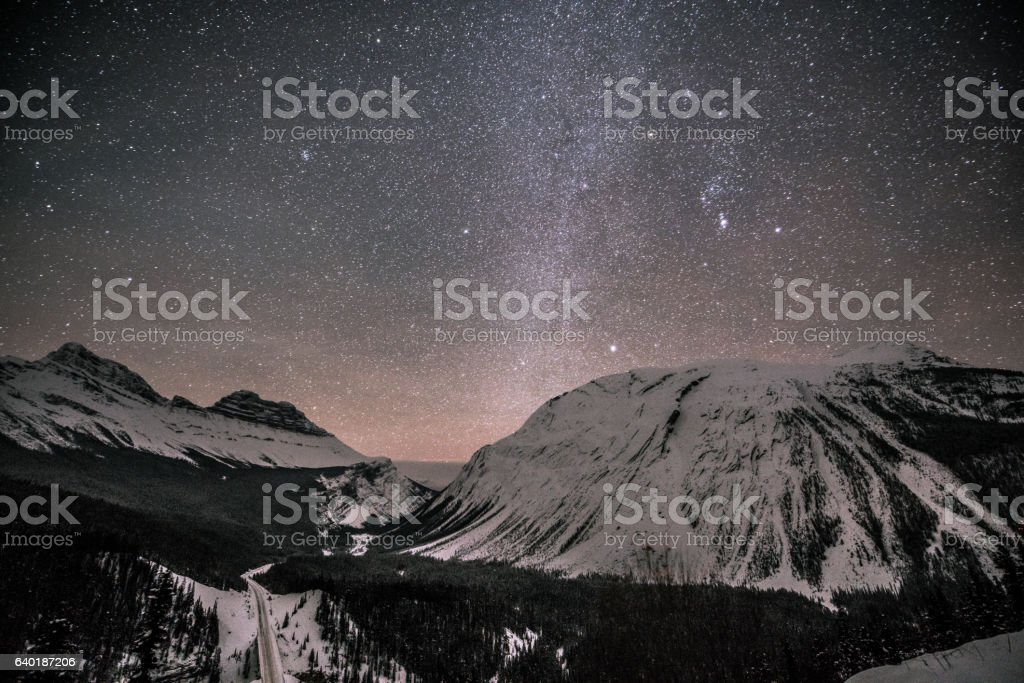Panoramic winter mountain landscape at Canadian Rockies. stock photo