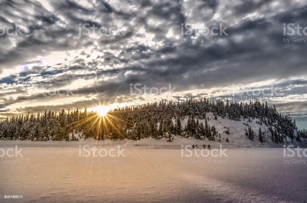 Panoramic winter mountain landscape at Garibaldi lake during sunset stock photo