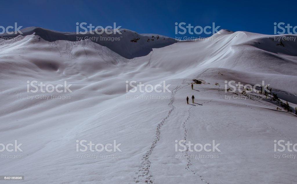 Panoramic winter mountain landscape in winter, Whistler, Canada stock photo