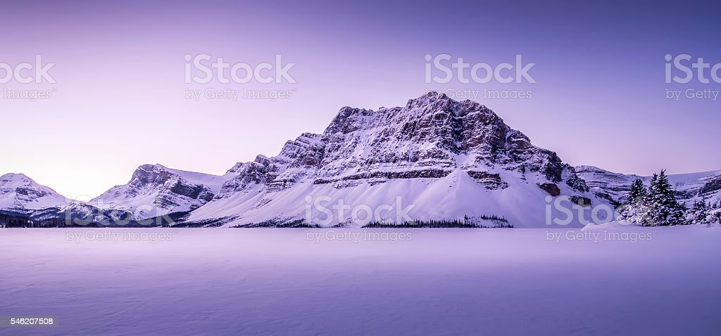 Panoramic Winter Sunrise Bow Lake stock photo